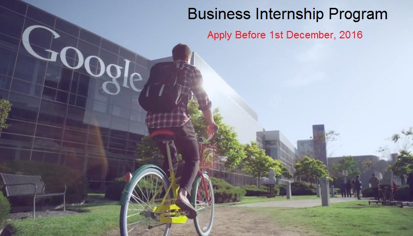 Google is Offering Business Internship 2017